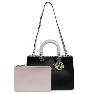 0e2abe4b13d042 Christian Dior Black Calfskin & Python Medium Diorissimo Tote