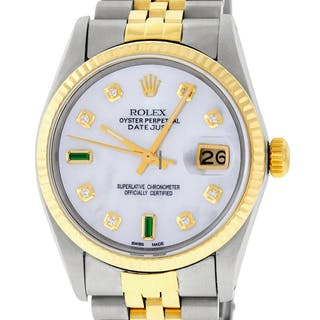 Rolex Mens Datejust SS & 18K Y Gold MOP Diamond Dial Watch
