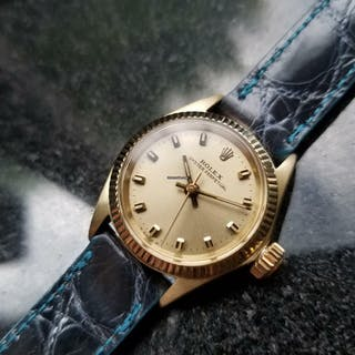 Rolex Solid 14K Gold Ladies Oyster Perpetual 6619 Automatic, c.1965 Swiss MS141