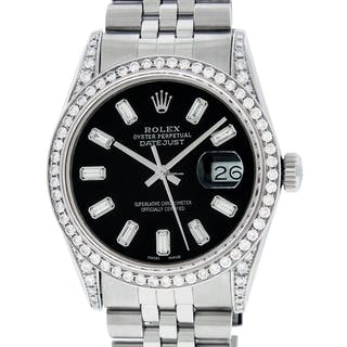 Rolex Mens Watch Datejust Stainless Steel Black Diamond Dial