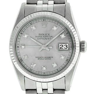 Rolex Mens Datejust SS/18K White Gold Grey Diamond Dial