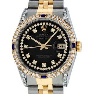 Rolex Mens Datejust SS/18K Gold Black Diamond Dial Sapphire