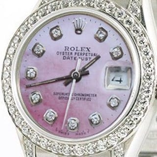 Rolex Ladies President In White Gold Watch,diamond Dial/bezel/lugs, Gold Band