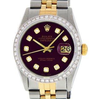 Rolex Mens Datejust SS & 18K Y Gold Maroon Diamond Dial