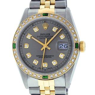 Rolex Mens Datejust SS & 18K Y Gold Grey Diamond Dial