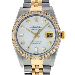 Rolex Mens Datejust SS / 18K Yellow Gold MOP Diamond Dial