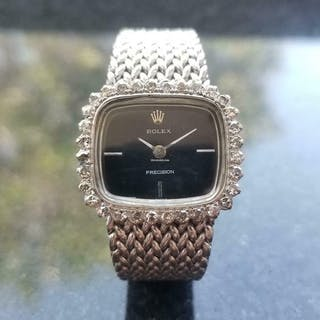Rolex Ladies 18kt White Gold Precision Cocktail Dress Watch, c.1970s
