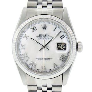 Rolex Mens Datejust SS/18K White Gold MOP Roman Dial
