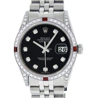 Rolex Mens Datejust SS / 18K White Gold Black Diamond Watch