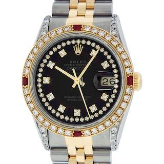 Rolex Mens Datejust SS & 18K Y Gold Black Ruby Diamond Dial