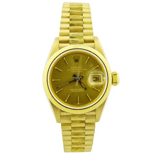 Rolex Lady Datejust 18KT Yellow Gold 26mm Champagne Stick Dial