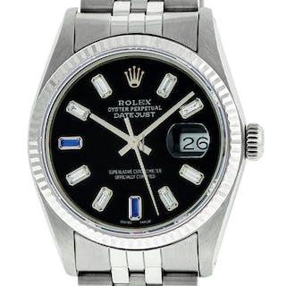 Rolex Mens Datejust SS/18K White Gold Black Diamond Dial