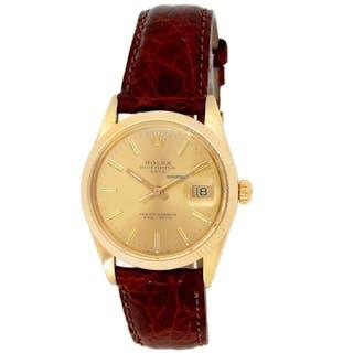 Rolex 34mm 14k Yellow Gold Vintage Date Watch w/ Crocodile Strap