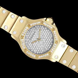 Cartier Santos Octagon Ladies Watch, Automatic Watch - 18K Gold & 1.