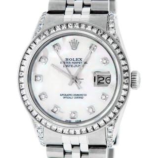 Rolex Mens Datejust SS / 18K White Gold MOP Diamond Watch
