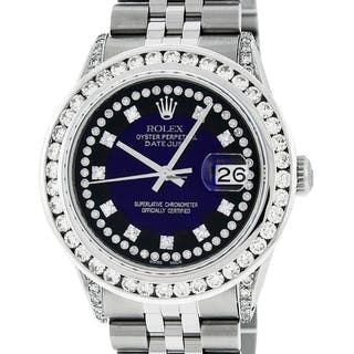 Rolex Mens Datejust SS & 18K White Gold Blue Diamond Watch