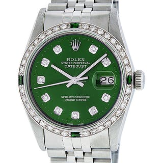 Rolex Mens Datejust SS/18K White Gold Green Diamond Dial Rby
