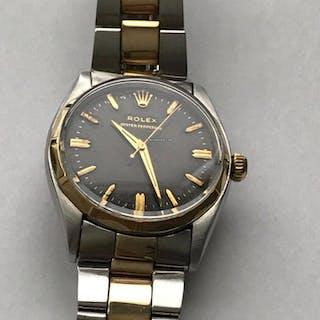 Rolex Ref 6566 14K/SS Bracelet Original Gilt Black Dial Cal 1030