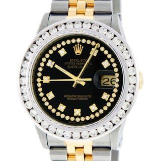 Rolex Mens Datejust SS & 18K YGold Black Diamond Dial 3.0 CT