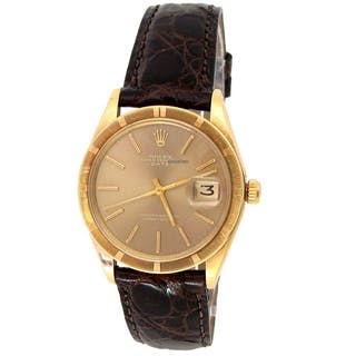 Rolex 34mm 14k Yellow Gold Date 1501 VINTAGE w/ Brown Leather Band
