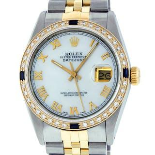 Rolex Mens Datejust SS/18K Yellow Gold MOP Roman Dial