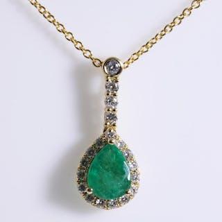 1.17ct Emerald and Diamond Pendant Lot # 157 Adelaide