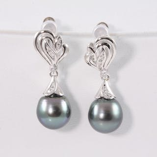 Tahitian Pearl And Diamond Clip On Earrings Lot 149 Brisbane Cur S Barnebys Co Uk