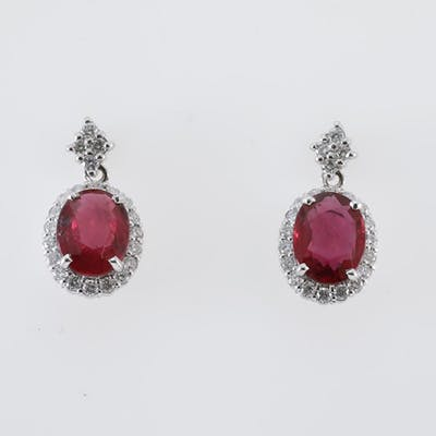 Ruby and Diamond Earrings Lot # 210 Sydney
