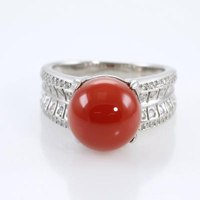 Coral and Diamond Ring Lot # 164 Adelaide
