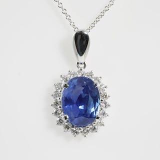 Unheated Sapphire and Diamond Pendant Lot # 63 Melbourne