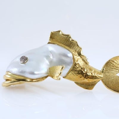 Pearl and Diamond Fish Brooch Lot # 43 Sydney