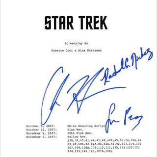Chris Hemsworth, Rachel Nichols, Simon Pegg Autographed Star Trek