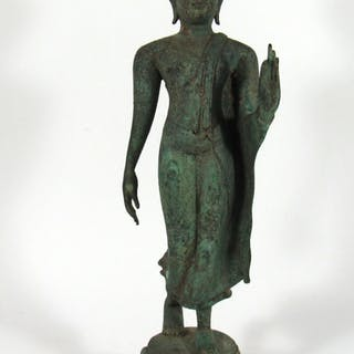 Southeast Asian Bronze Figure of Walking Buddha.