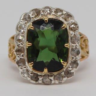 JEWELRY. 5+ Ct Green Tourmaline and Diamond Ring.
