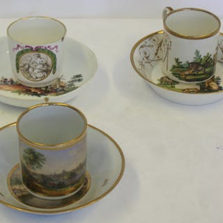 3 Antique Porcelain Cups and Saucers.