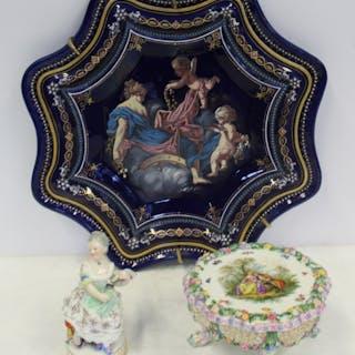 MEISSEN. Porcelain Figurine, Porcelain Table and