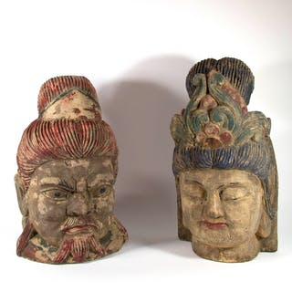 Two Polychrome and Wood Carved Chinese Heads.