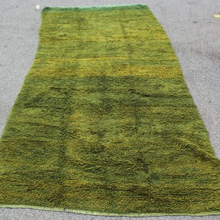 Vintage and Hand Woven Green Carpet.