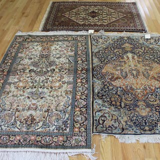 Lot of 3 Vintage And Finely Hand Woven Area