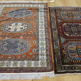 2 Vintage And Finely Hand Woven Kazak Style
