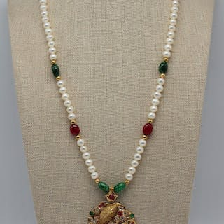 JEWELRY. Persian/Indian 21kt Gold, Emerald, & Ruby