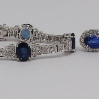 JEWELRY. 18kt Gold, Sapphire, and Diamond Bracelet