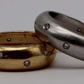 JEWELRY. (2) Italian 18kt Gold and Diamond Rings.