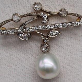 JEWELRY. Art Nouveau 18kt Gold, Diamond, and Pearl