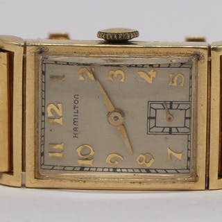 JEWELRY. Vintage Hamilton 14kt Gold Watch.
