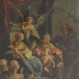 UNSIGNED .Old Master oil On Panel Religious Scene