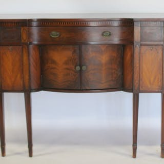 Antique Mahogany Inlaid Sideboard Signed