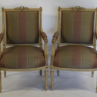 Pair of Finely Carved Louis XVI Style Arm Chairs.