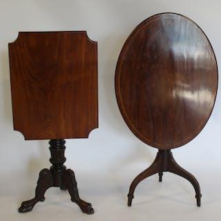 Lot Of 2 Antique Mahogany Tilt Top Tables.
