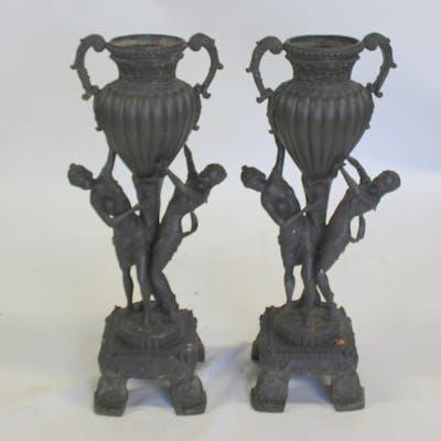 Pair Of Antique Cast Metal Figural Planters.